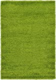 Unique Loom Solo Solid Shag Collection Area Modern Plush Rug Lush & Soft, 4' 0 x 6' 0 Rectangular, Grass Green