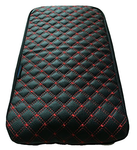Fit for Honda Civic Synthetic Center Console Lid Armrest Cover Protector Black & Red