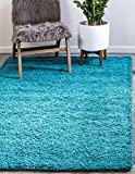 Unique Loom Solo Solid Shag Collection Modern Plush Deep Aqua Blue Area Rug (5' 0 x 8' 0)
