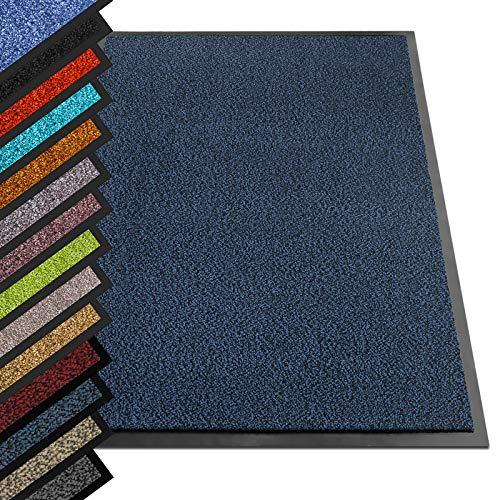 etm® Schmutzfangmatte - Note 1,6: Sieger Preis-Leistung - Fußmatte in vielen Größen - Türmatte Fußabstreifer für Haustür innen und außen (Blau-Schwarz, 90x150 cm)