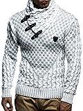 Leif Nelson pour des Hommes Pullover Pull en Tricot Hoodie Sweatshirt arrêtez-Vous Manche Longue col châle LN5255; Taille M, écru-
