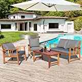 Tangkula 4 PCS Wood Patio Furniture Set, Outdoor Seating Chat Set with Gray Cushions & Back Pillow, Outdoor Conversation Set with Coffee Table, Ideal for Garden, Backyard, Poolside
