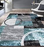 Contemporary Abstract Circle Design Gray Soft 5'3' x 7'3' Indoor Area Rug
