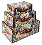 ts-ideen juego set de 3 Containers estantería cómoda caja cofre de diseño estilo retro shabby industrial