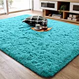 Ompaa Soft Fluffy Area Rug for Living Room Bedroom, 4x5.9 Teal Blue Plush Shag Rugs, Fuzzy Shaggy Accent Carpets for Kids Girls Rooms, Modern Apartment Nursery Dorm Indoor Furry Decor