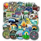 JIAHUI 50 pegatinas de invierno para esquí camping Bosque impermeable manual para teléfono, portátil, frigorífico, monopatín, maleta (Colore: 50 camping)