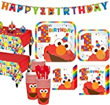 Party City 1st Birthday Elmo Party Kit for 32 Guests, Includes Table Covers, Table Decorating Kit, and Banners