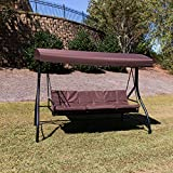 Flash Furniture 3-Seat Outdoor Steel Converting Patio Swing Canopy Hammock with Cushions / Outdoor Swing Bed (Brown)