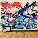 Dremisland Japonais Ukiyo-e Tapisserie Vague Mer Koi Tapisserie Murale Grande...