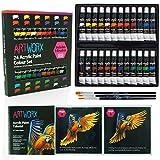 Ensemble de 24 tubes de peinture acrylique12ml, Artworx