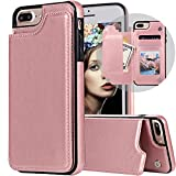 Auker iPhone 7 Plus Wallet Case,iPhone 8 Plus Case with Card Holder, Slim Thin Folio Flip Leather Secure Fit Magnetic Clasp Closure Purse Case with Wallet&Credit Card Slots for iPhone 7 Plus Rosegold