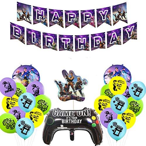 23 piezas de suministros para fiestas de cumpleaños para amantes de los juegos, Decoraciones de fiesta temáticas de juegos, Incluye globos de jugador, pancarta de feliz cumpleaños