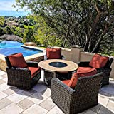 Kinger Home 5 Piece Round Propane Gas Fire Pit Table Patio Conversation Set, Red Outdoor Cushions Rattan Wicker Outdoor Furniture Patio Rocking Chairs, 50 Inch Stone Tile Top Deck LP Fire Pit Table