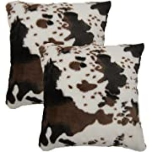 SWEET PIG Xynus Pack of 2 Cow Cowhide Fur Pillow Cover Throw Cases Animal Skin Farmhouse Decor Cozy 18x18 Inches, Opens in a new tab