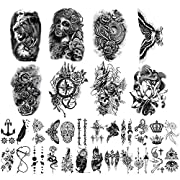 ✔[LARGE SIZE & MUCH QUANTITY] Large size half arm tattoo stickers can cover your body parts larger, size is 9.45 * 6.69 inch (24 * 17cm) 8 sheets, 4.1 * 2.4 inch (10.5 * 6cm) 24 sheets .You can share it with your family and friends. ✔[WATERPROOF & DU...