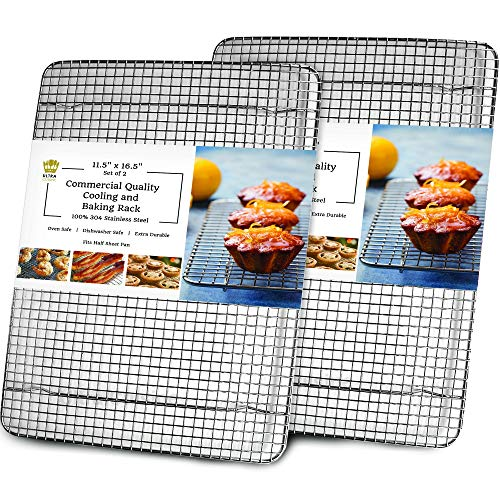 Cooling, Baking & Roasting Wire Racks for Sheet Pans - 100% Stainless Steel Metal Racks for Cooking - Dishwasher Safe, Rust Resistant, Heavy Duty (11.5' x 16.5' - Set of 2)