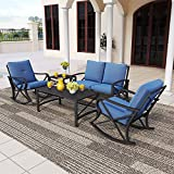 PatioFestival Conversation Furniture Set,5 Pcs Cushioned All Weather Metal Outdoor Furniture Sectional with Loveseat,2 Padded Rocking Chairs,Coffee Table,Bistro Table (5 PCs, Blue)