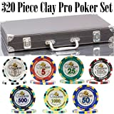 (300 + 20) Chips Clay Pro Poker Set in a Vinyl Leather case - 320 Heavyweight 14 g Casino-Quality Poker Chips - Plastic Cards with Cutting Cards - Casino-Green Poker Felt Included (Style C)