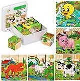Felly Jouet Puzzle en Bois 2 Ans, Animaux Puzzle Enfant Cube Jouets Montessori Bébé Educatifs pour Garçons Filles 3 4 5 6 Ans, 9 Pièces