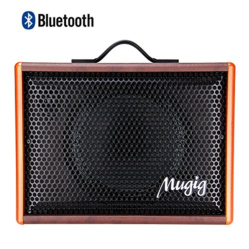 Mugig Guitar Amplifier, 25W, Rechargeable Guitar Amp, Support Bluetooth/AUX/USB, 3-Band EQ and Digital DSP Effect, Portable Size for Outdoor Performance, Band Show, Personal Practice