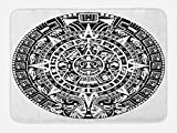 Lunarable Aztec Bath Mat, Mayan Calendar End of The World Prophecy Mystery Cool Culture Design Print, Plush Bathroom Decor Mat with Non Slip Backing, 29.5' X 17.5', Black Grey
