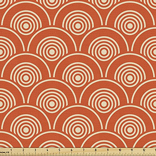 Ambesonne Geometric Fabric by The Yard, Eastern Half Circle Pattern Abstract Geometric Shapes Japanese Kimono, Decorative Fabric for Upholstery and Home Accents, 1 Yard, Yellow Orange