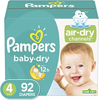 Diapers Size 4, 92 Count – Pampers Baby Dry Disposable Baby Diapers, Super Pack