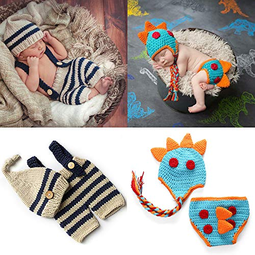 2 Sets Cotton Knitted Newborn Photography Costume for Girls and...