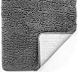 Gorilla Grip Original Luxury Chenille Bathroom Rug Mat, 30x20, Extra Soft and Absorbent Shaggy Rugs, Machine Washable, Quick Dry Bathmat, Plush Carpet for Tub, Shower and Bath Room Floor Mats, Grey