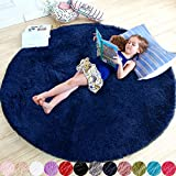 Navy Blue Rug for Bedroom,Fluffy Circle Rug 4'X4' for Kids Room,Furry Carpet for Teen's Room,Shaggy Circular Rug for Nursery Room,Fuzzy Plush Rug for Dorm,Indigo Carpet,Cute Room Decor for Baby