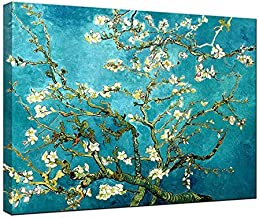 Wieco Art Almond Blossom Modern Framed Floral Giclee Canvas Prints by Van Gogh Famous Oil..