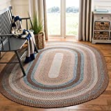 Safavieh Braided Collection BRD313A Handmade Country Cottage Reversible Area Rug, 8' x 10' Oval, Brown / Multi