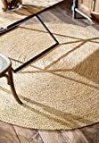 nuLOOM Rigo Hand Woven Farmhouse Jute Area Rug, 4' Round, Natural