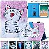 Universal 9.0'-10.1' Tablet Case, Artyond PU Leather Stand Cover Multi-Angle Card Slots Feature Case for All 9.0-10.1 inch Tablet Apple/Samsung/Kindle/Lenovo/ASUS/LG/HP/Android (Smile Cat)