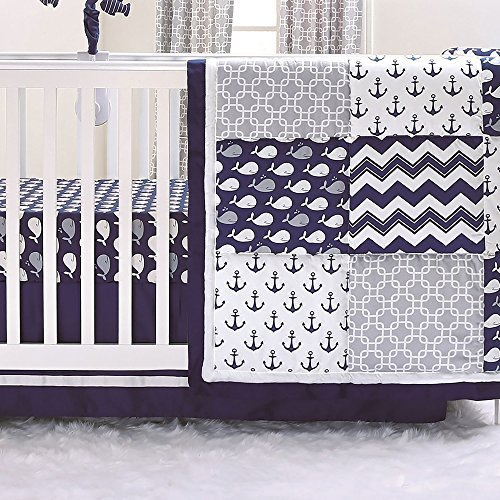 Nautical Whales and Anchors Navy 3 Piece Crib Bedding Set by The Peanut Shell