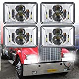 4 PCS DOT Approved Rectangular 4x6 inch LED Headlights Replacement H4651 H4652 H4656 H4666 H6545 For Kenworth T800 T600 Peterbilt 379 Feightliner Ford Probe Chevrolet Oldsmobile Cutlass Chrome