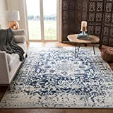 Safavieh Madison Collection MAD603D Vintage Medallion Distressed Area Rug, 9' x 12', Cream/Navy