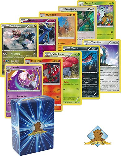 5 Pokemon Rare Card Lot 120 HP or Higher with Holos! Bonus Pokemon Collectible Coin! Includes Golden Groundhog Deck Box!