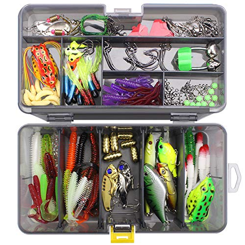 LEAMALLS 168 Pezzi Pesca Richiamo Artificiali Kit di Esche da Pesca Ganci Cucchiaini, Sport e tempo libero Pesce Tackle attrezzature