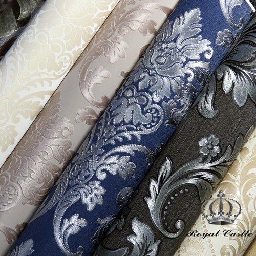 PAPEL PAPEL DE PAREDE COLEÇÃO VAPERSSE - ROYAL CASTLE (VP407 fundo texturizado offwhite, desenho em tons de gelo, glitter nas bordas internas do desenho)