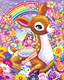 5D DIY Diamond Painting Kit, Special Shaped Crystal Rhinestone Diamond Embroidery Paintings Pictures Arts Craft for Home Wall Decor - Fawn and Girl 12x16inch