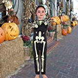 Halloween Skeleton Kids Costume with Gloves Child Lifelike Scary Bone Skull Outfit Fancy Dress Up for Halloween Carnival Party,4-14Years White