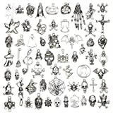 60pcs Assorted Antique Silver Charm Pendant Pumpkin Ghost Skull Halloween Collections Jewelry Findings Making Accessory for DIY Necklace Bracelet Keychain