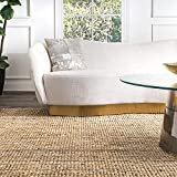 SK Handicrafts Natura Collection Chunky Loop Jute Rug, 5' x 7' 6', Natural