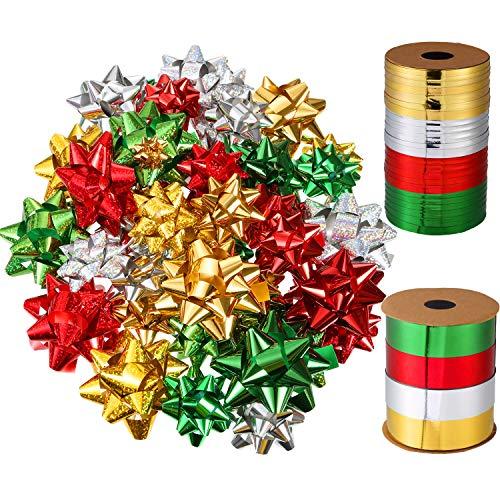 52 Piezas de Lazo de Embalaje de Navidad Autoadhesivo Lazo de Regalo Metálico y 131 Pies de Cinta Rizada de Navidad para Favores de Fiesta Embalaje de Globo Regalo