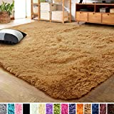 LOCHAS Ultra Soft Indoor Modern Area Rugs Fluffy Living Room Carpets for Children Bedroom Home Decor Nursery Rug 4x5.3 Feet, Khaki Orange
