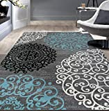 Contemporary Modern Floral Gray 5'3' x 7'3' Indoor Soft Area Rug