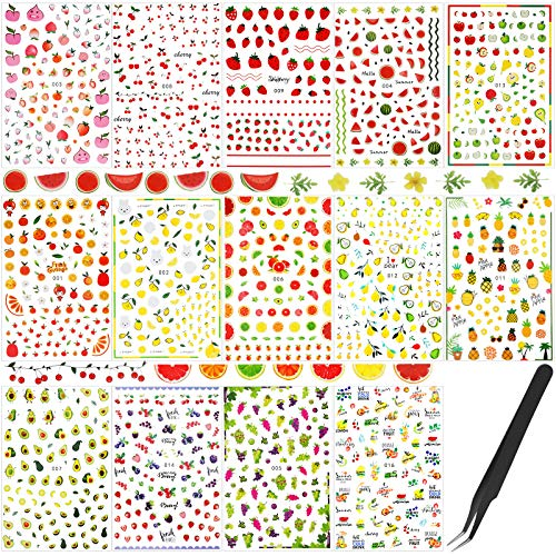 Leelosp 14 Sheets Summer Nail Art Stickers Decals with Tweezers 3D Self-Adhesive DIY Nail Art Decoration Summer Fruit Nail Sticker Tropical Fruit Nail Art Decal for Women Little Girls Nail Decoration
