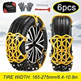 soyond Snow Chains Car Anti Slip Snow Tire Chains Adjustable Anti-Skid Chains Car Tire Snow Chains for Car/SUV/Trucks (Set of 6 Width 165-275mm/6.4-10.9'')