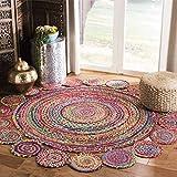 Safavieh Cape Cod Collection CAP211Q Handmade Boho Braided Jute & Cotton Area Rug, 3' x 3' Round, Red / Multi